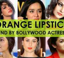 Bollywood-Schauspielerinnen in orange Lippenstift