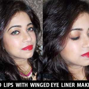 Rote Lippen mit geflügelte Eyeliner Make-up Tutorial