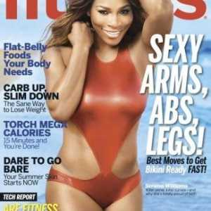 Serena williams zeigt Skulpturen Figur in 'Fitness' Magazin aus